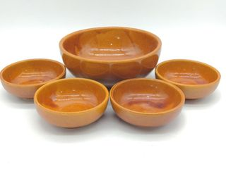 "(4) McCoy Bowls 5.5"" Diameter and Oven Ware USA"