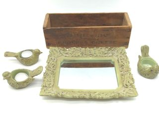 "Framed Mirror 8.5"" Tall, (3) Bird Candle Holders,"