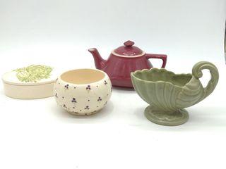 Haeger Ceramic Dish, Hall Ceramic Kettle, Floral