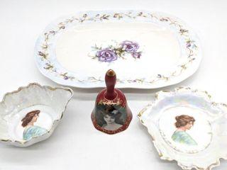 Austrian Made Plate and Bowl, Fleur de Lys Bell,