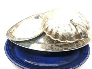 "Clam Shaped Serving Platter 13"", Stainless Steel"