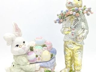 "Easter Bunny Cookie Jar 10""X12"" and Bunny Statue"