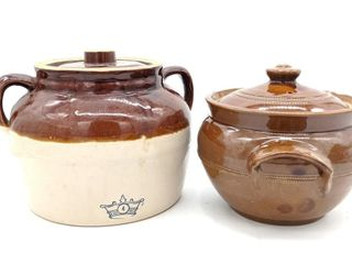 (2) Ceramic Pots with Lids