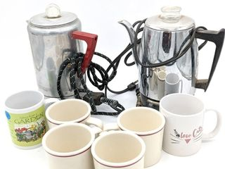 (2) Percolators and (6) Coffee Mugs