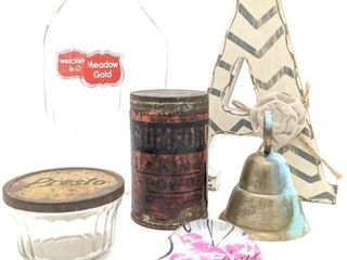 Vintage Containers, Paper Weight, Brass Bell, and