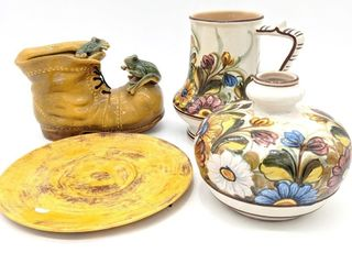 Hand-Painted Floral Pottery, Yellow Plate and