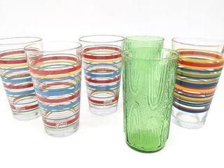 (3) Fiesta Striped Tumblers, (2) Green Woodgrain
