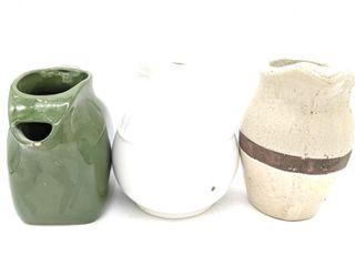 (3) Ceramic Pitchers