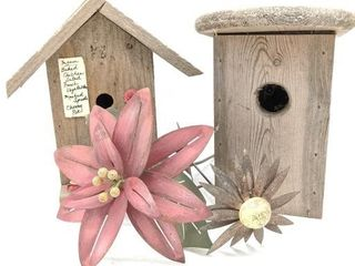 (2) Birdhouses and (2) Metal Flower Yard Decor