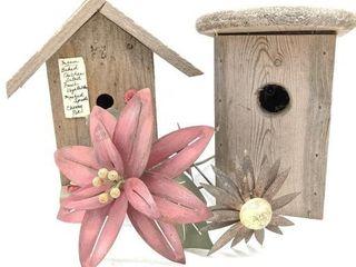 (2) Birdhouses and (2) Metal Flower Yard Decor