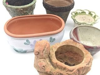 (6) Ceramic and Concrete Planters and Pots