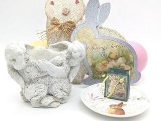 Easter Decor, Bunny Plate and Bunny Planter