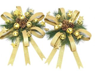 (2) Gold Glitter Wreaths with Metal Ribbon