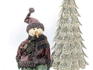 "Glitter Metal Tree 23.5"" and Snowman Decoration"