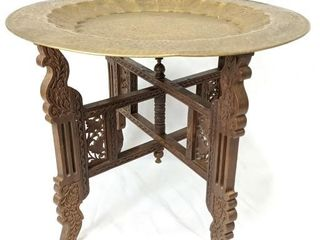 Decorative Brass Tray on Wooden Folding Pedestal