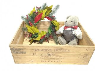 "Wooden Crate 13.5"" x 21"" Wreath and Stuffed Bear"