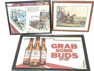 "Budweiser Mirror 22"" x 36"" Turquoise Poster 19"" x"