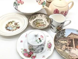 Decorative Plates, Tea Kettle, Cups and Bowls