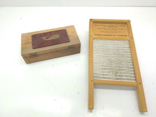 "Columbus Washboard 18""x8.5"" and Small Lock Box"