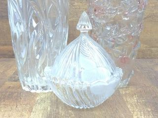 "(2) Vases -9.5"" and 9.75"", and Serving Dish with"