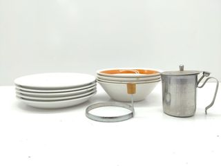 Syrup Dispenser, Egg Ring, Plates and Bowls