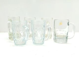 (6) Clear Glass Mugs
