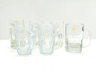 (6) Clear Glass Mugs
