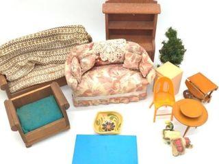 Miniature Furniture and Small Decorative Plate