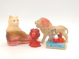 Vintage Celluloid Lion, Plastic Cat Toy, and More