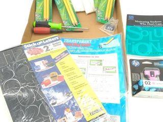 Stick-On Letters, Pencils, Screwdrivers, Plant