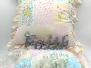 (2) Throw Pillows and Faith Wall Decor.