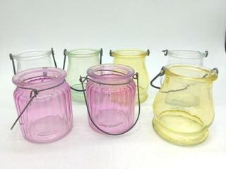 (7) Glass Candle Jars with Handles