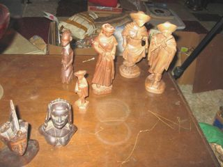 Wooden hand carved figurines