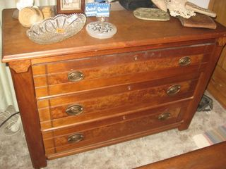 3 drawer walnut chest