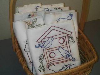 Embroidered Flour Sack Dish Towel (7)