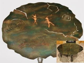 FANTASTIC NATIVE AMERICAN SYMBOLS MIXED METAL ARTISAN SOUTHWESTERN STYLE COFFEE TABLE WITH STRUCTURED EDGE GLASS TOP - PURCHASED IN SCOTTSDALE AZ 20 YEARS AGO FOR $4000 - SIGNED & DATED BY ARTIST UNDERNEATH!