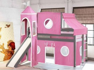 JACKPOT  Princess low loft Bed with Slide Pink   White Tent and Tower loft Bed Twin Gray