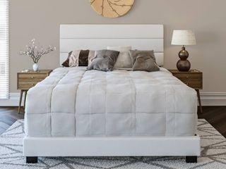 Premier Rapallo Upholstered Faux leather Tri Panel Channel Headboard Platform Bed Frame  Full  White