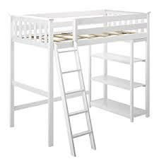 Max   lily 180218 002 Solid Wood Twin size High loft Bed With Bookcase White