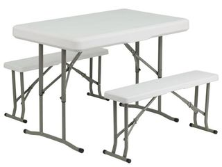 Flash Furniture DAD YCZ 103 GG Plastic Folding Table and Benches