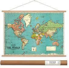 Cavallini   Co  Vintage School Chart World Map   Blue