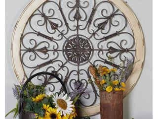 Decmode   large Round Distressed White Wood   Metal Wall Decor with Tudor Rose and Scrollwork  Vintage Style Round Wall Decor  large Wood Wall Decor  36a x 36a