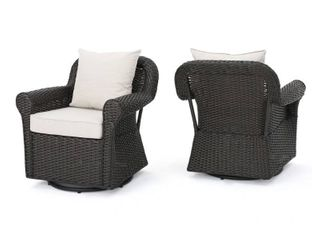 Amaya Outdoor Wicker Swivel Cushioned Rocking Chair 1 only brown and beige