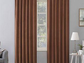 84 x50  Amherst Velvet Noise Reducing Thermal Back Tab Extreme Blackout Curtain Panel Dark Orange   Sun Zero 2 pc