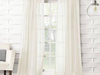 No  918 ladonna Rod Pocket Solid Semi Sheer Window Curtain Panel 2 pc