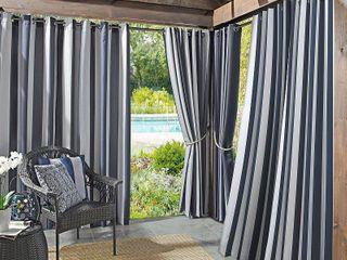 Sun Zero Valencia Cabana Stripe Indoor Outdoor Curtain Panel 2 pc