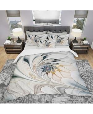 Designart  White Stained Glass Floral Art  Duvet Cover Set  Retail 146 99