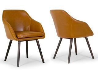 Carson Carrington Akrehamn 2 piece Cappuccino Faux leather Arm Chairs Set with Beech legs   Retail 173 99