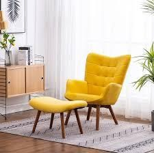 Roundhill Furniture leiria Contemporary Silky Velvet Tufted Accent Chair With oattom yellow