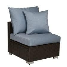 Duxbury Brown Rattan and Aluminum Outdoor Armless Chair with Sky Blue Cushions by Havenside Home  Retail 181 99